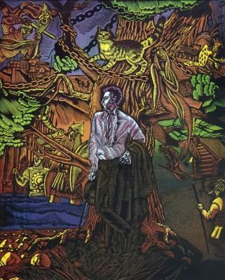 Новгородова С.П. Пушкин У Лукоморья дуб зелёный 1995 г. цветая гравюра на пластике, 35,5x28,7 см.