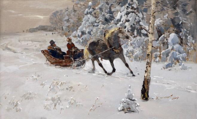 Захаров Иван Ильич, 1936 г.р., Пушкин на прогулке, холст-масло, 43,8x70 см., 2007 г.